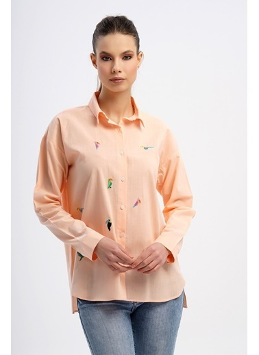 Nismia Kuş Nakışlı Pamuklu Basic Gömlek Somon